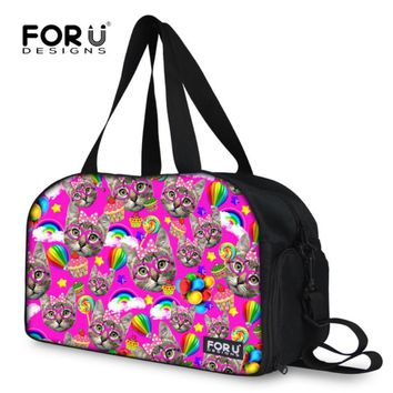 FORUDESIGNS Cut Kitty Cat Printing Travel Duffle Bag Large Capacity Women Canvas Carry On Luggage Bag Folding Bag Ladies Duffle