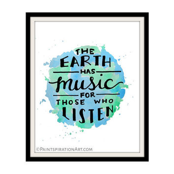Quote Prints Text Art Earth Nature Prints - Blue and Green Art Print Watercolor Quote Art - Outdoorsy Bird Lover Gift Nature Lover Gift Art