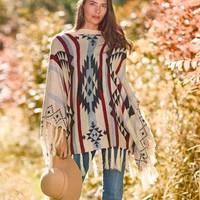Women's Fringe Aztec Sweater Poncho Southwestern Top Warm Casual Fall Fashion