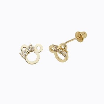 14k Gold Plated Brass Mouse Ribbon Stud Earrings with Screw Back