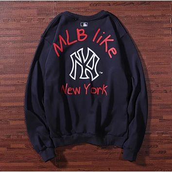 MLB NY Fashion New  Letter Print Long Sleeve Top Sweater Black
