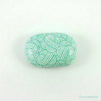 TADASHI decorative painted stone | Mint green zentangles on white background | Home decor by Savousepate