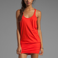 Michael Stars Jersey Knit Sleeveless Scoop Neck Racerback Shirred Dress in Samba from REVOLVEclothing.com