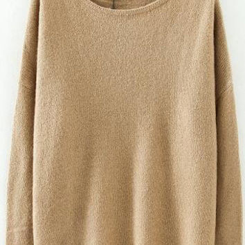 Khaki Boat Neck Knitted Sweater