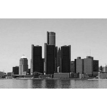 Detroit Skyline poster Metal Sign Wall Art 8in x 12in Black and White