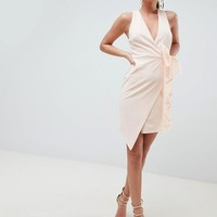 ASOS DESIGN wrap organza bow front midi dress at asos.com