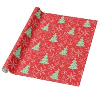 Pretty Green, Red, White Christmas Trees Wrapping Paper