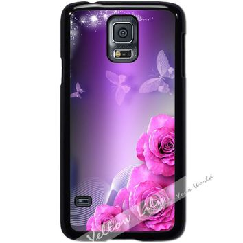 For Samsung Galaxy S5 i9600 Case Phone Cover Pink Sparkle Y00099