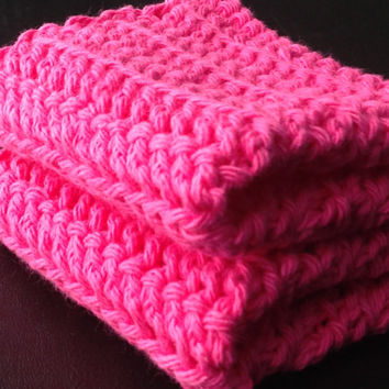 Set of 2 Hot Pink Handmade Crochet Dishcloths (100% Cotton) More Colors Available in Our Shop!