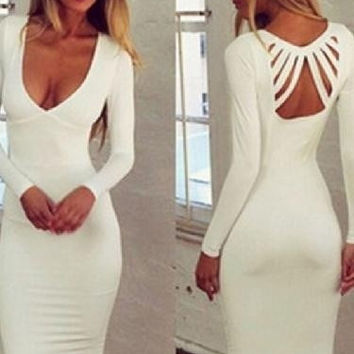 Women's Fashion White Long Sleeve Strappy Bodycon Dress For Cocktail /Party