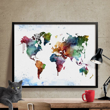 Watercolor world map, World Map Art Print, World map wall art, Large Wall Art World Map, Watercolour, Home Decor, watercolor map (310)