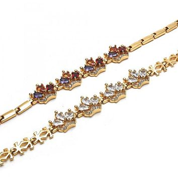 Gold Layered Fancy Bracelet, Crown Design, with Cubic Zirconia, Golden Tone