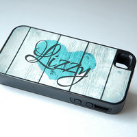 Rustic Country Heart + Monogram Protective Phone Case + teal, iPhone 6 Case, 6+ Case, 6s Case, 6s Plus Case, Wood