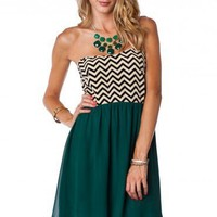 Strapless Zig Zag Sun Dress in Hunter Green - ShopSosie.com