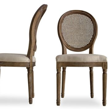 Charlie French Country Dining Chairs Beige Linen (Set Of 2)