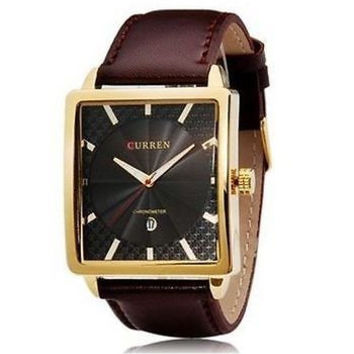 CURREN Calendar Quartz Rectangular Wrist Watch with  Leather Band
