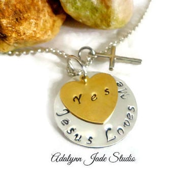 Religious Jewerly ~ Jesus loves me Necklace , Christian Jewerly for mom , Cross Necklace , First Communion Jewerly , Christian Themed Gifts