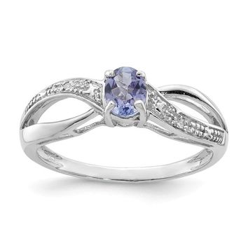 Sterling Silver Infinity Style Diamond And Oval Tanzanite Ring