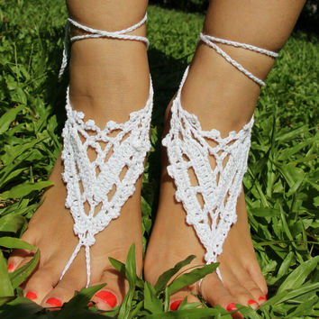 Handmade Crochet Barefoot Sandals ,Nude shoes, Foot jewelry, Wedding, Victorian Lace, Sexy, Yoga, Anklet , Bellydance,Steampunk, Beach Pool,Ethnic,Gift-07