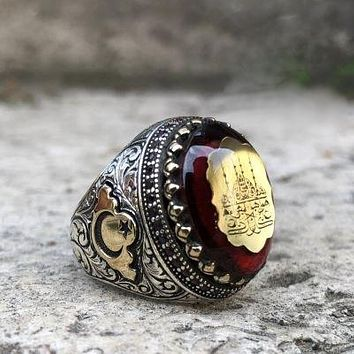 Amber gemstone with blue mosque sterling silver mens ring