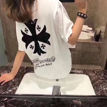 """Chrome Hearts"" Women Casual Fashion Personality Cross Leather Stitching Letter Print Loose Short Sleeve T-shirt Tops"