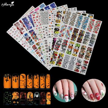 8 Styles Christmas Nail Art Water Transfer Stickers Foil Snowman Owl Skull DIY Image Full Cover Half Cover Decal Wrap