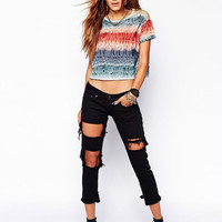 Multi Printed cropped Short T-shirt