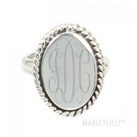 Monogrammed Sterling Silver Olivia Ring | Marley Lilly