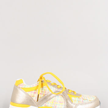 Misbehave Metallic Round Toe Lace Up Sneaker