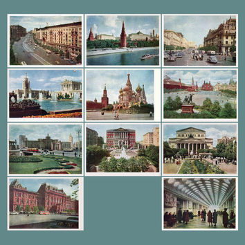 Moscow. City Views - Set of 15 Vintage Color Photo Postcards - Printed in the USSR, «IZOGIZ», Moscow, 1960