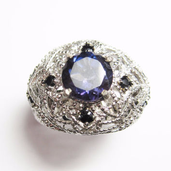 Purple Spinel Ring with Black Diamonds Sterling Size 6
