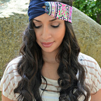 Bohemian Navy Turban, turban headband - head wrap - hippie - boho