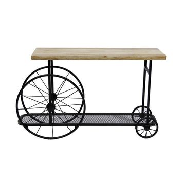 Industrial Design Sofa Console Table With Wooden Top and Metal Wheels Base,Sand Black By Benzara