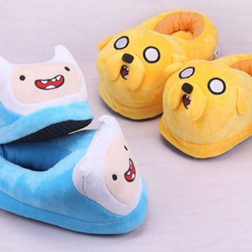 Anime  Adventure Time jake and finn Full Slippers  Plush Shoes Indoor House Winter Fluffy Slippers