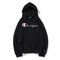 Champion classic print logo hooded men's and women's sports jacket F-CP-ZDL-YXC Black