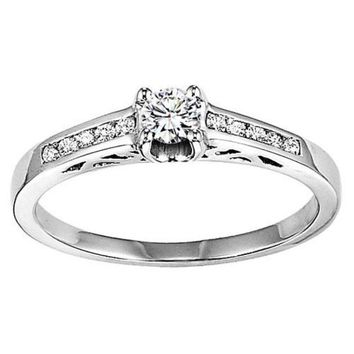 14K White Gold 1/4cttw Princess Cut Diamond Engagement Ring