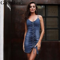 Glamaker Sexy bodycon denim dress women Lace up backless casual jeans dress Irregular slim summer dress mini vestido de festa