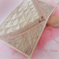 Vintage Rialto Pink Satin And Lace Lingerie / Cosmetic Bag
