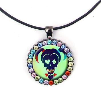 9 Style New Steampunk Harley Quinn Joker Women Statement Pendant Necklace Suicide Squad Choker Necklace XMAS Gift