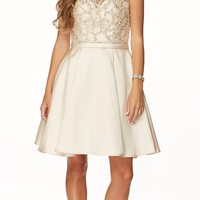 Juliet 775 Illusion Neck Embellished Homecoming Dress Champagne