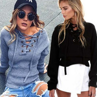 Autumn Winter Women Sweater Bandage Sweatshirt Blouses Ladies Tops Gift-01