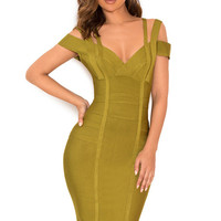Clothing : Bandage Dresses : 'Mimi' Olive Green Off Shoulder Bandage Dress