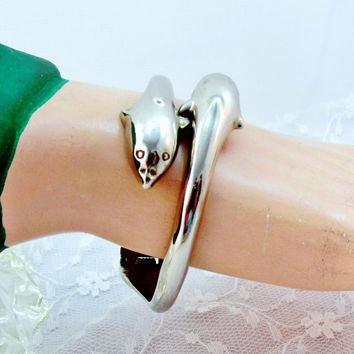 Vintage Bracelet Dolphin Hinged Cuff 925 Sterling Silver Bracelet  Collectible Item 1456