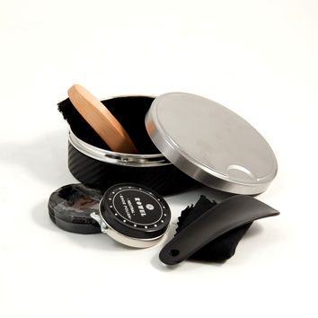 Shoe Shine Set in Stainless Steel & Black Leather Case