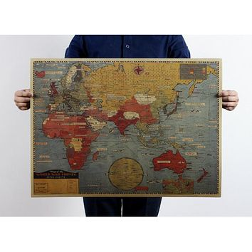 Large Vintage Style Retro Kraft Paper Poster Gifts Home Decoration Globe The Old World Map
