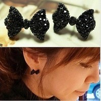 Free Shipping Cute Black Rhinestone Crystal Bowknot Bow Tie Stud Earring NEW