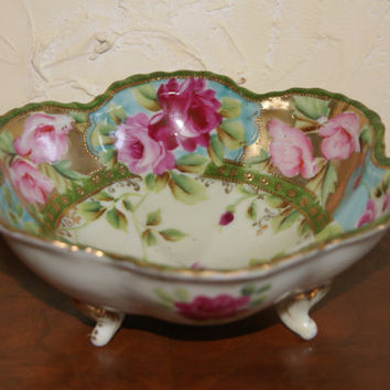 Vintage 1930s BTC Japan Hand Painted Three Footed Bowl MORIAGE Floral Motif