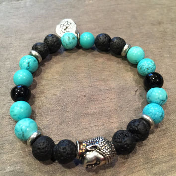 Bracelet, Turquoise, Onyx, Lava Rock (8 mm beads) and 1 ml of Essential Oil for Diffusing/Aromatherapy