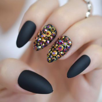 3D Pre-designed Stiletto Nails Custom Matte Gold Rose AB Rhinestones Shiny Press On Fingernails Sharp Nail Tips Black
