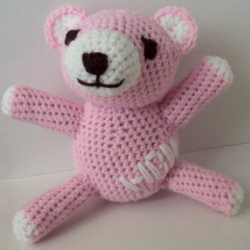 Custom Monogrammed Initials Teddy Bear - Baby Gift - Pink and White